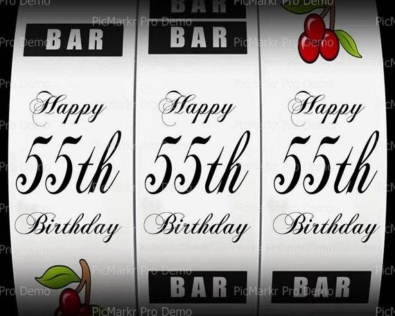55th Birthday Casino Slot Machine ~ Edible 2D Fondant Birthday Cake/Cupcake Topper ~ D21869