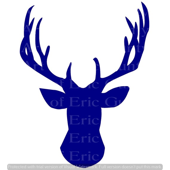 Blue Deer Head Hunting Birthday - Edible Cake and Cupcake Topper For Birthday's and Parties! - D24131