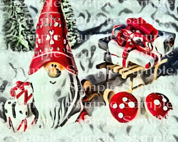 Yard Gnomes Winter Snow Christmas - Edible Cake and Cupcake Topper For Birthdays and Parties! - D24235