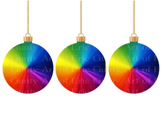 Rainbow Christmas Ornaments ~ Edible 2D Fondant Birthday Cake/Cupcake Topper ~ D22016