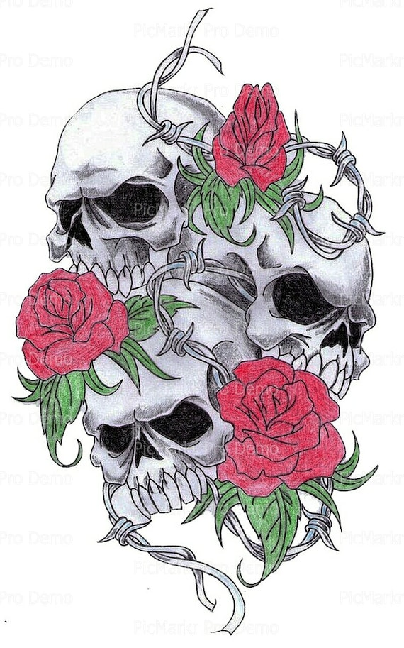 Skulls and Roses Halloween ~ Edible 2D Fondant Birthday Cake/Cupcake Topper ~ D5845