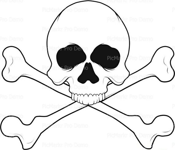 Skull and Crossbones Halloween ~ Edible 2D Fondant Birthday Cake/Cupcake Topper ~ D5836