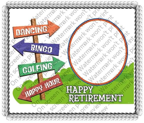 Happy Retirement ~ Edible 2D Fondant Birthday Cake/Cupcake Topper ~ D646