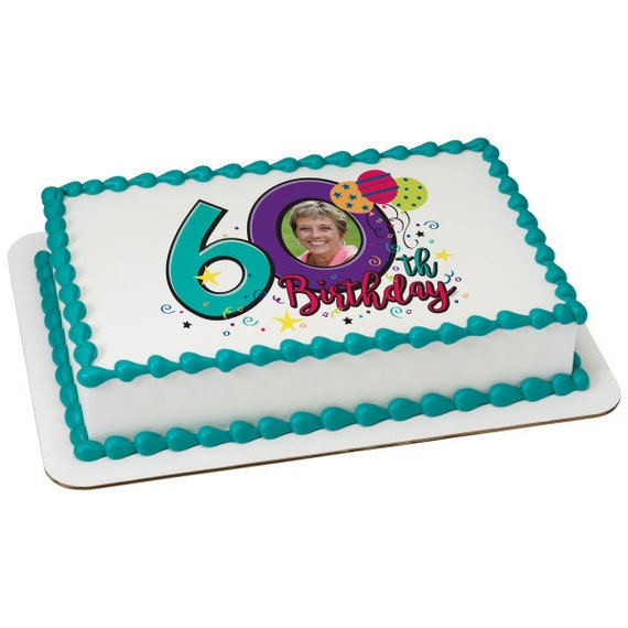 Happy 60th Birthday - Edible Cake and Cupcake Photo Frame For Birthdays and Parties! - D24115