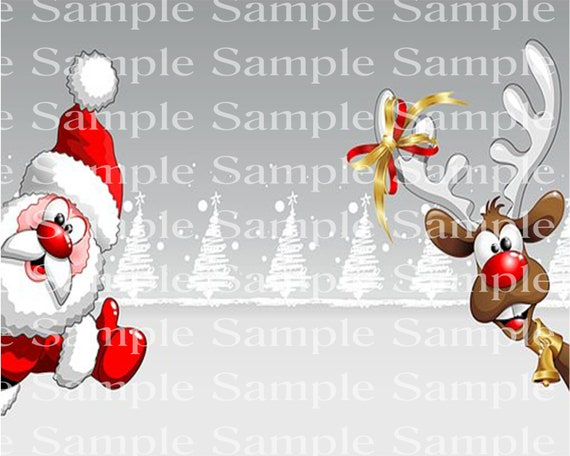 Santa & Rudolph Christmas Winter Birthday - Edible Cake and Cupcake Topper For Birthdays and Parties! - D24232