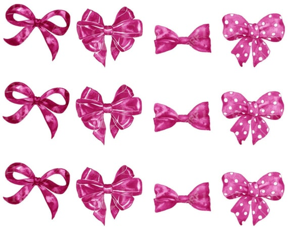 Pink Bows & Ribbons Birthday - Edible Cake Side Toppers- Decorate The Sides of Your Cake! - D24046