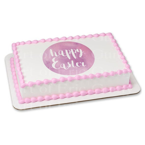 Pastel Pink Happy Easter - Edible Cake and Cupcake Topper For Birthday's and Parties! - D22050