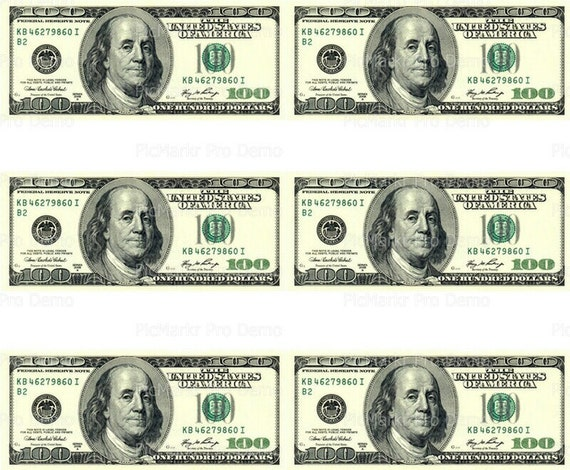 100 Dollar Bill - Side Strips ~ Edible 2D Fondant Birthday Cake Side Toppers ~ D20003