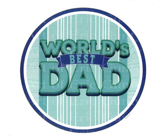 World's Best Dad Father's Day ~ Edible 2D Fondant Birthday Cake/Cupcake Topper ~ D22234