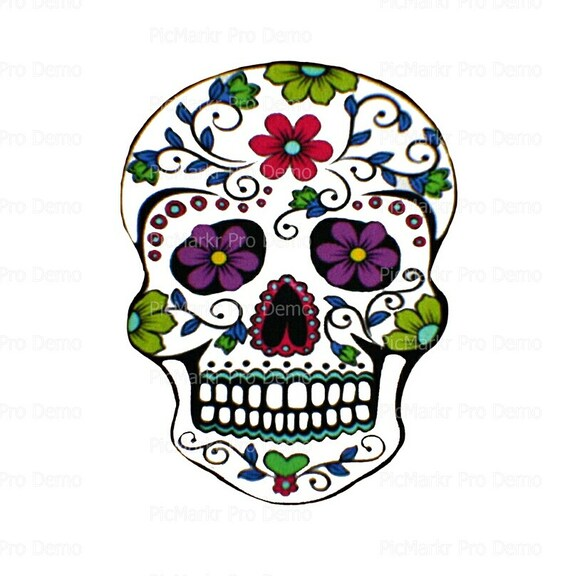 Halloween Sugar Skull - Edible Cake and Cupcake Topper For Birthday's and Parties! - D20395