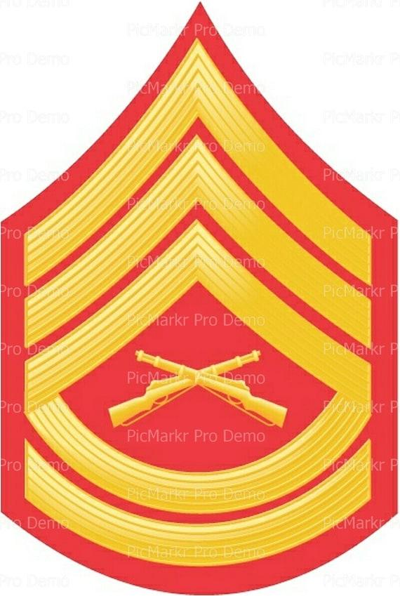 Marine Gunnery Sargent Military Insignia Birthday ~ Edible 2D Fondant Birthday Cake/Cupcake Topper ~ D20491