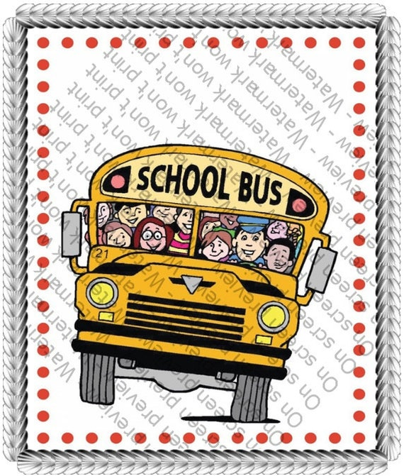 School Bus Birthday - Edible Cake and Cupcake Topper For Birthday's and Parties! - D554