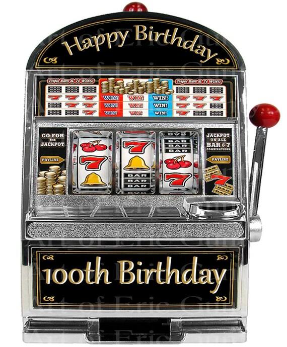 Las Vegas Happy 100th Birthday Slot Machine ~ Edible 2D Fondant Birthday Cake/Cupcake Topper ~ D22771
