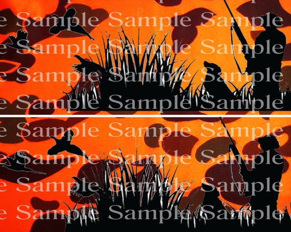 Blaze Orange Camo Hunter Birthday - Edible 2D Fondant Cake Side Toppers - Decorate The Sides of Your Cake! - D24320