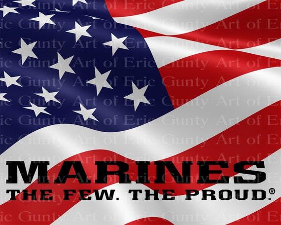 Marines American Flag Birthday ~ Edible 2D Fondant Birthday Cake/Cupcake Topper ~ D21918