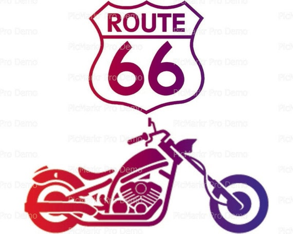 Route 66 Motorcycle - Edible Cake and Cupcake Topper For Birthday's and Parties! - D21695
