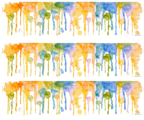 Watercolor Drips - Birthday Background - Side Strips ~ Edible 2D Fondant Birthday Cake Side Toppers ~ D22561