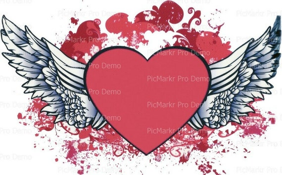 Valentine's Day Heart and Wings~ Edible 2D Fondant Birthday Cake/Cupcake Topper ~ D1061