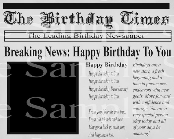 Newspaper Happy Birthday - Edible 2D Fondant Cake & Cupcake Topper For Birthdays and Parties! - D24153