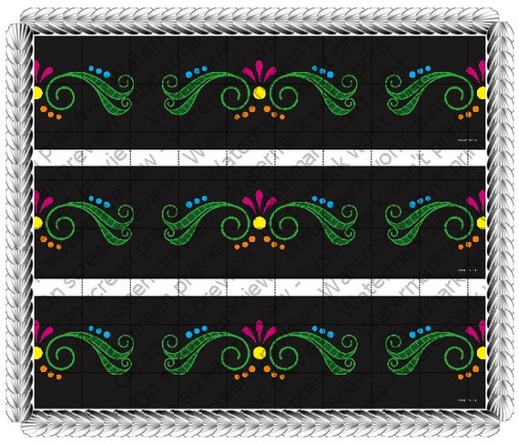 Mexico Day of The Dead Design - Side Strips ~ Edible 2D Fondant Birthday Cake Side Toppers ~ D517