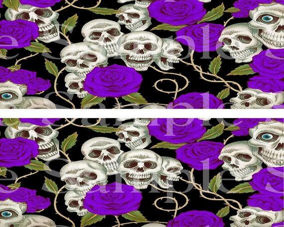 Skulls & Purple Roses Halloween - Side Strips - Edible Cake Side Toppers- Decorate The Sides of Your Cake! - D24410