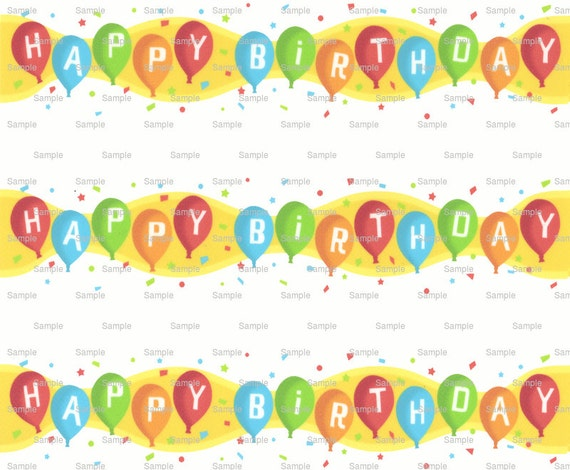 Happy Birthday Background - Side Strips ~ Edible 2D Fondant Birthday Cake Side Toppers ~ D6920