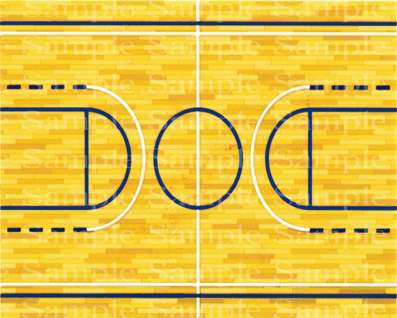 Basketball Court With Blue Lines - Edible 2D Fondant Cake / Cupcake Topper For Birthdays and Parties! - D24389