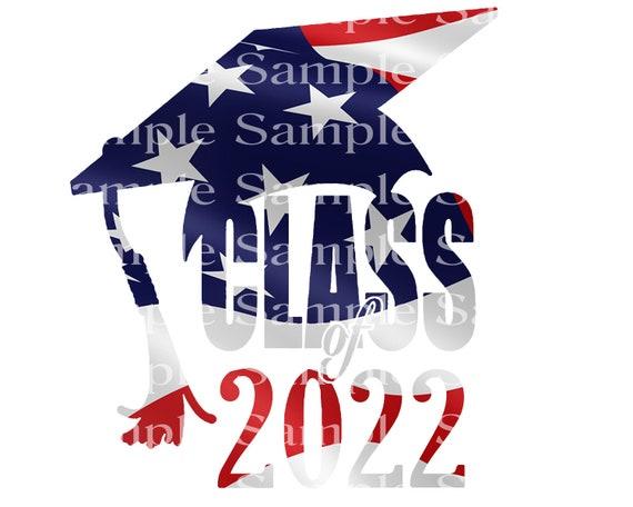 Class of 2022 Patriotic Graduation Cap - 2D Fondant Edible Cake & Cupcake Topper For Birthdays and Parties! - D24275