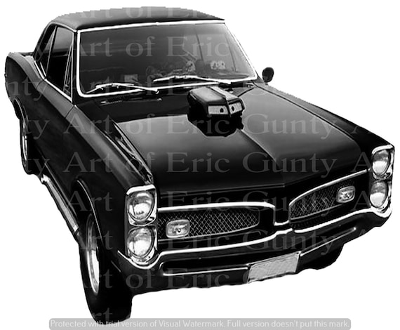 Black Classic Muscle Car Birthday - Edible Cake and Cupcake Topper For Birthday's and Parties! - D24129