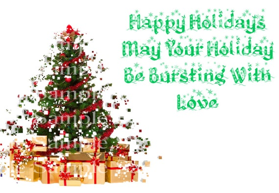 Happy Holidays Christmas Tree Birthday - Edible Cake and Cupcake Topper For Birthdays and Parties! - D24242