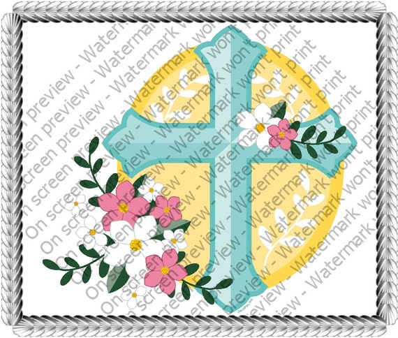 Cross With Flowers Birthday - Edible Cake and Cupcake Topper For Birthday's and Parties! - D195