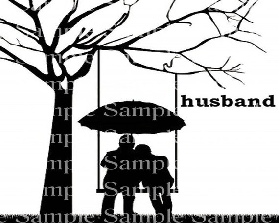 Husband & Wife Silhouette Background - 2D Edible Cake/Cupcake Topper For Birthdays and Parties! - D24305