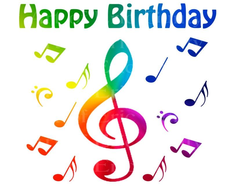 Band Music Notes Rainbow Happy Birthday