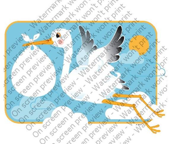 Stork & Baby ~ Edible 2D Fondant Birthday Cake/Cupcake Topper ~ D208