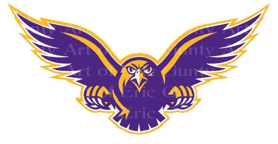 Purple & Gold Hawk Mascot Birthday ~ Edible 2D Fondant Birthday Cake/Cupcake Topper ~ D22733