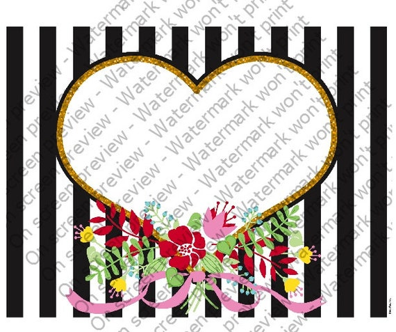 Valentine's Day Heart Stripes ~ Edible 2D Fondant Birthday Cake/Cupcake Topper ~ D113