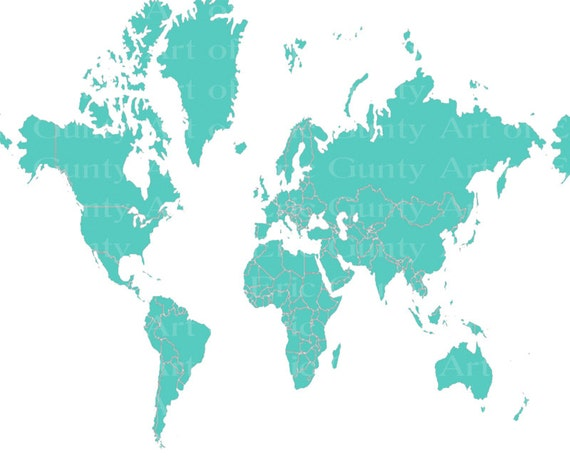 Teal World Map Birthday ~ Edible 2D Fondant Birthday Cake/Cupcake Topper ~ D22025