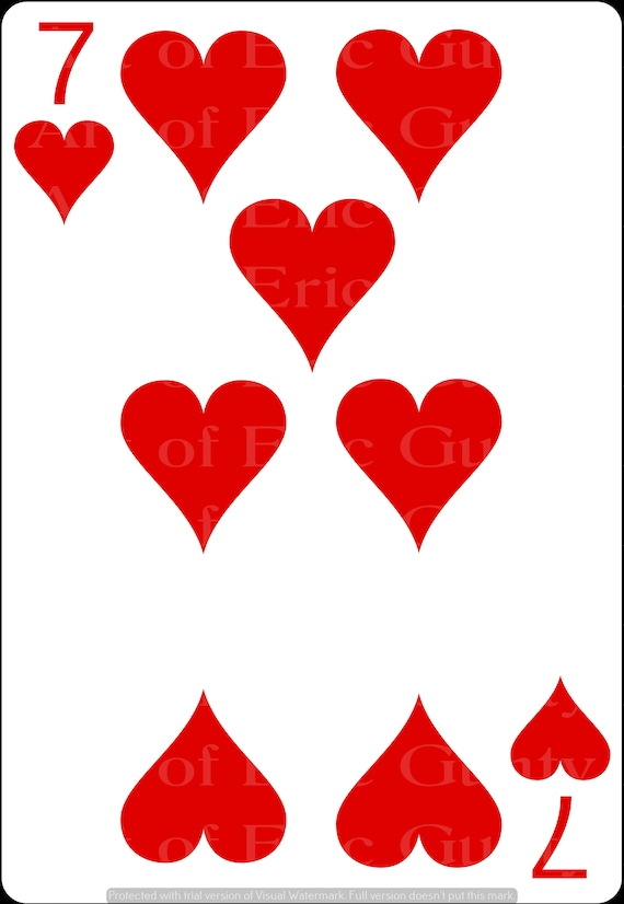 7 of Hearts Poker Casino Birthday - Edible Cake and Cupcake Topper For Birthdays and Parties! - D24139
