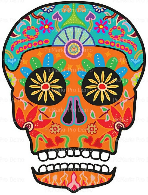 Sugar Skull Halloween - Edible Cake and Cupcake Topper For Birthday's and Parties! - D5830