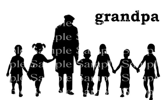 Grandpa and Grandkids Birthday Silhouette - 2D Fondant Edible Cake & Cupcake Topper For Birthdays and Parties! - D24343