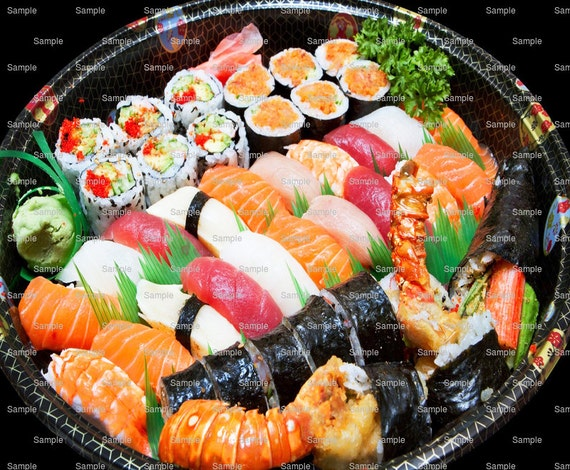Sushi Platter Background Birthday - Edible Cake and Cupcake Topper For Birthday's and Parties! - D7920