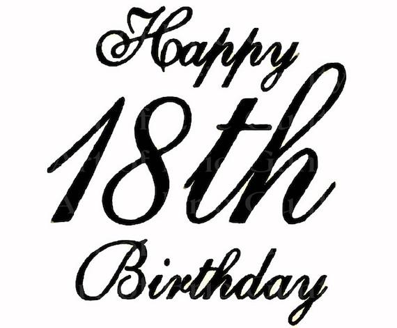 Black Happy 18th Birthday ~ Edible 2D Fondant Birthday Cake/Cupcake Topper ~ D22440