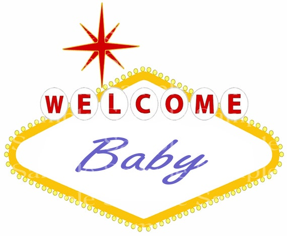 Las Vegas Welcome Baby Shower Birthday - 2D Edible Fondant Cake/Cupcake Topper For Birthdays and Parties! - D24399