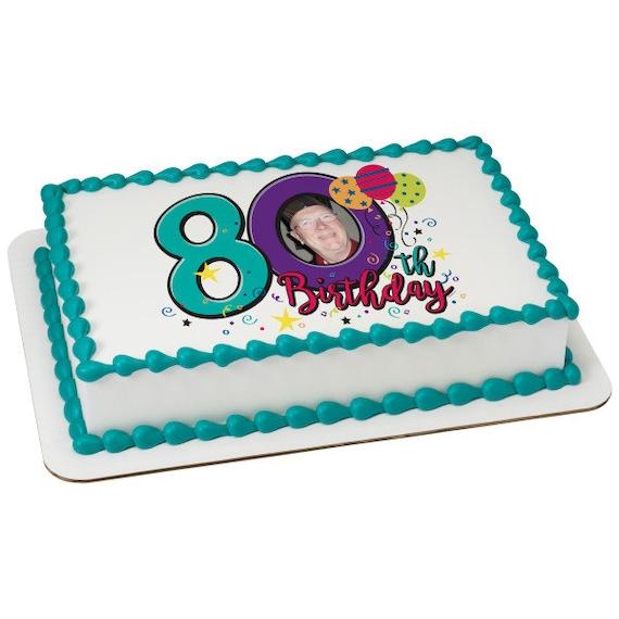 Happy 80th Birthday ~ Edible 2D Fondant Birthday Photo Frame Cake/Cupcake Topper ~ D24117