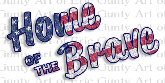 Home of the Brave America 4th of July - Edible Cake and Cupcake Topper For Birthdays and Parties! - D24006