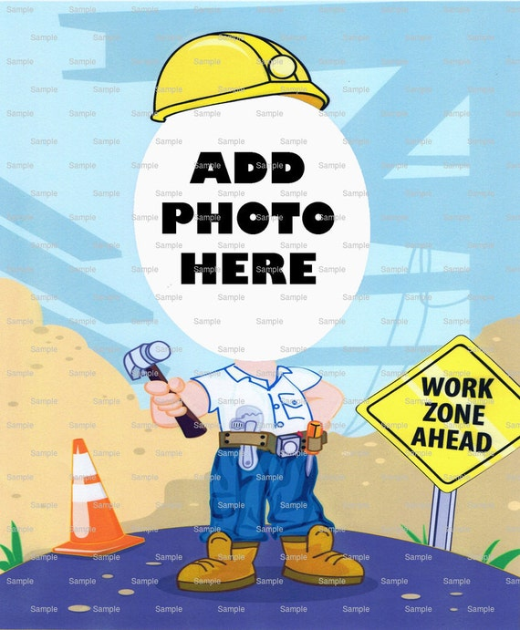 Construction Worker Birthday Cake Topper - Edible Cake and Cupcake Photo Frame For Birthdays and Parties! - D4666
