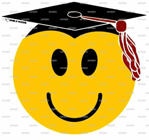 Graduation Smiley Face - Edible Cake and Cupcake Topper For Birthday's and Parties! - D213