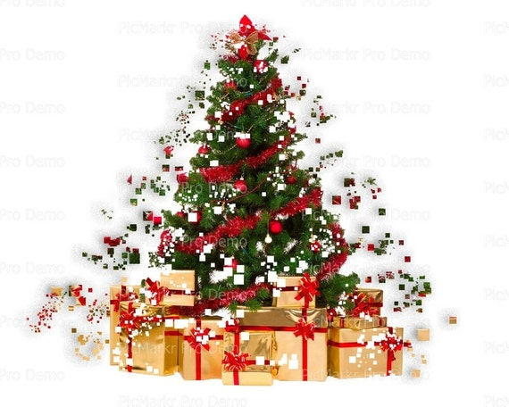 Happy Holidays Merry Christmas Tree ~ Edible 2D Fondant Birthday Cake/Cupcake Topper ~ D21802
