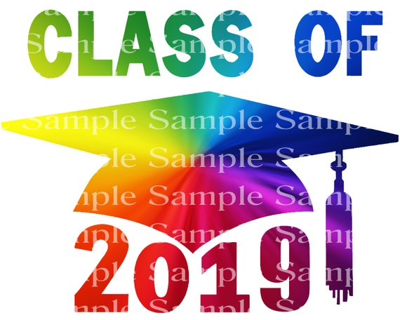 Class of 2019 Rainbow Graduation Cap - 2D Fondant Edible Cake & Cupcake Topper For Birthdays and Parties! - D24247