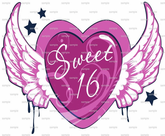 Sweet 16 Heart Wings Birthday ~ Edible 2D Fondant Birthday Cake/Cupcake Topper ~ D2204